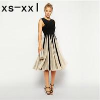 XS-XXL New Arrived Dress Of Women Fashion Spring And Summer Fashion Gauze Dress Stitching Slim A Hit-color Chiffon Dress