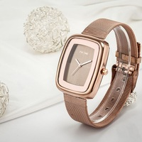 Free Shipping New US Luxury Brand Logo Lady Women Dress Watch Rose Gold Net strap Wristwatches Japan Quartz+Drop Shipping