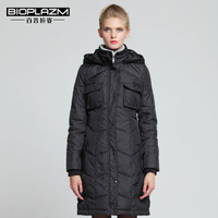 2014 Winter Thin Warm Woman Down jackets Coat Parkas Outerweat Hooded Tooling Luxury Mid Long Plus Size XXL Cold Black