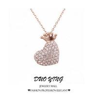 2015 Rock Long Top Quality Diamante Heart-Shaped Corrente Crystal Love Neckalce Pendants For Women