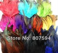 "Retail DIY Choose Color 24pcs/lot 5-6""(12-15cm) Black Saddle Badger pheasant Rooster tail feathers Black Coque Feather"