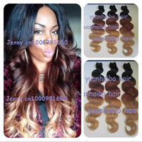 Top 7A Grade 3pcs/lot three colored #1b/33/27 body wave virgin hair weaves ombre peruvian hair weft free shipping