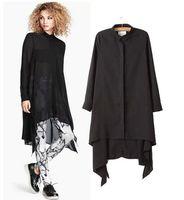 Fashion Ladies Black Color Irregular Bottom  long Sleeve Lapel  Shirt  Blouse Blusas Casual camisas Women Tops
