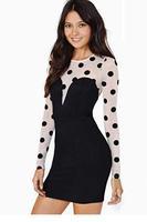 White Bodice Polka Dot Bodycon Mini Dress LC21883