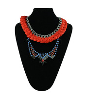 European vintage fashion alloy crystal gem stone colorful red rope vintage ethnic collar necklace women jewelry