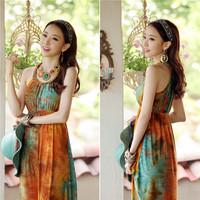 LONG STYLE BOHEMIAN New summer Vestido chiffon print casual turn-down collar dress 20710