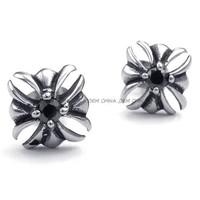 Jewelry Men's 316L Stainless Steel Titanium Rock N' Roll Fashion Black Zircon Cross Earring M072800