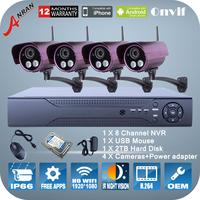 1080P 8CH NVR 2TB HDD 2.0Megapixel WIFI Camera 2 Array IR Night Vision Wireless System ONVIF H.264 P2P Video Surveillance Kit