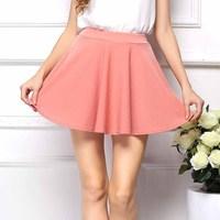 New Fashion Women's Skirt 2015 NEW Stylish Womens Summer Linen High Waist Pleated Candy Color Short Skirt 8.5