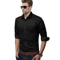 UDOD Brand Spring & Summer Mens Dress Shirts Fashion Casual Shirts Slim Fit Cotton Long Sleeves Shirt for Men M-4XL 5XL EB8225