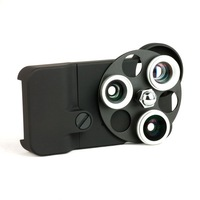 High quality  4  in 1 Dial Lens Case Fisheye + Wide Angle +Macro lens + Telephoto Lens 4 in 1 For iPhone 4 4S