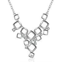 Free shipping 925 silver square pendant statement necklaces for women necklace floating locket cz crystal jewelry KN669
