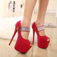 2015 new elegant women's pumps Super beautiful  Fish head high heels rhinestone women  shoes
