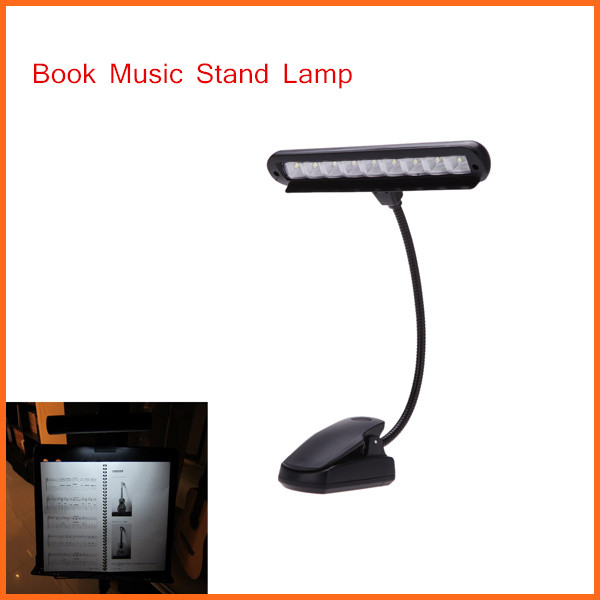 New Arrival Clip-on 9pcs LED Light Flexible Book Music Stand Light Lamp with Adapter Guitar Parts & Accessories(China (Mainland))