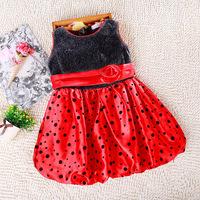 Free Shipping Toddler Kids Girl Flower Dot Puffy Dress Princess Tutu Summer Dress Bubble Dress Free Shipping LI0063