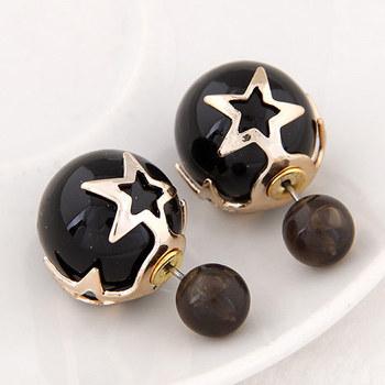 [ подарок ] двойной боковые жемчужина звезда серьги стержня