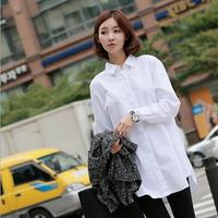 Fast/Free shipping 2015 Korean Spring Clothing Casual Blusas Femininas Slim White Cotton Blouse Women Blouses C0768
