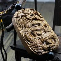 The ancient Chinese myth talisman, the dragon design woodcarving, Long Mu craft jewelry, car pendants, pendants.