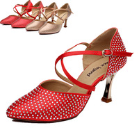 Latin Dance Shoes Woman 7.5cm High Heels Dancing Shoes for Women Salsa Jazz Dance Shoes Modern Ballroom Latin Dance Shoe DS072