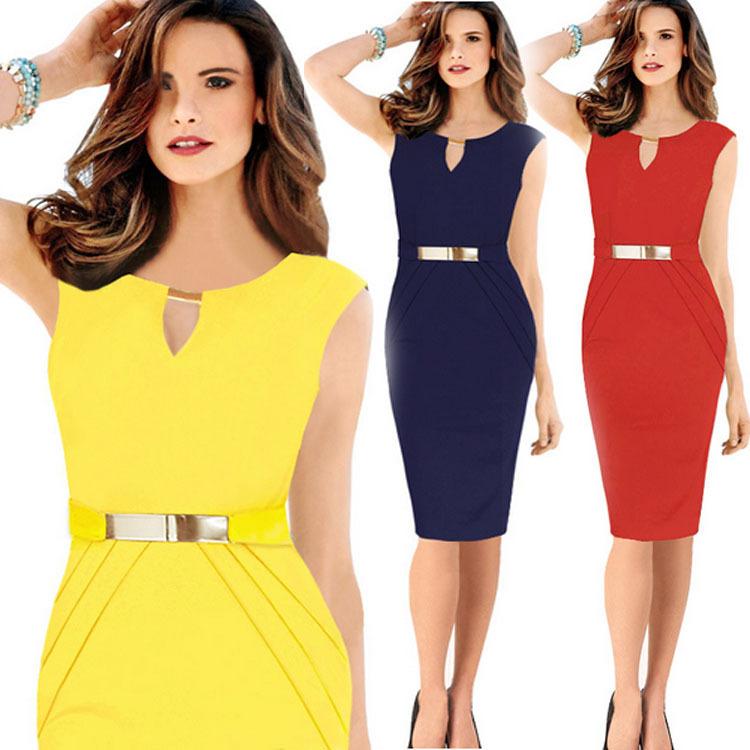 AliExpress.com Product - Casual Women Dress 2015 Summer Party Office Dresses Plus Size XL XXL Vestidos Sleeveless Bodycon Midi Yellow Red