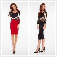 R70213 Attractive black and red spring autumn women's plus dresses o-neck full sleeve casual dress unique design sexy dress 2015