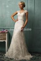 HYL Custom Size New Luxury White/ivory V-Neck Beaded Bridal Gown Lace A-Line Cap Sleeve Floor-Length Wedding Dresses
