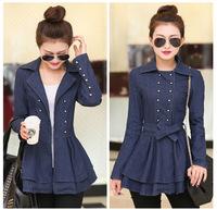 2015 new fashion solid color women Denim jacket slim long design turn-down collar ladies outerwear J1132