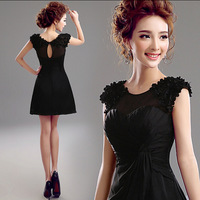 In stock fashion a line perspectivity dinner party black homecoming dress cocktail party dress hoozgee 478
