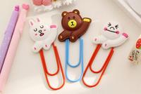 Japan Line Bears Rabbit Kawaii Rubber Paper Clip Bookmark ; Stationery Book Label Bookmarker Cartoon Mix Book Mark Clip
