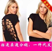 2015 WOMEN LOOSE T SHIRTS Short-sleeved T-shirt Laser BLACK T SHIRTS WOMEN CLOTHES XS-XXL