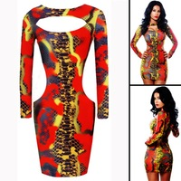 Hot snake pattern leather sheath dress, women's autumn and winter in Europe and America nightclub dress
