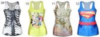 2015 Fashion women Tops Digital printing CLOSE FITTING Render vest  Camisole H vest weskit rock Skull U neck vests Tank top