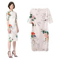 Summer new retro print color Slim Cheongsam paragraph Sleeve Dress Sexy ladies' bag hip dress 56-4