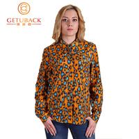 2015 New Women casual chiffon shirt turn-down collar leopard print ladis blusas size S-XL,SB512