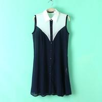 Summer new ladies lapel buttons mixed colors Sleeveless Shirt Dress L26-77