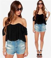 Women Off The Shoulder Blouse Top Short Sleeve Solid Summer Bohemian Boho Black