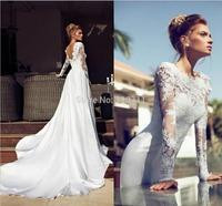 Petite Mermaid High Neck Sweep Train Lace Long Sleeves Backless Wedding Dress Custom Made