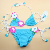 Free Shipping cute summer beach baby girl kids children's split flower pattern swimsuit bikini swimwear swimming set size 3-12