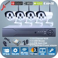 P2P 8CH NVR 2TB HDD 1080P 2.0 Megapixel Wireless WIFI Camera 2 Array IR Night Vision ONVIF H.264 Video Surveillance Security Kit