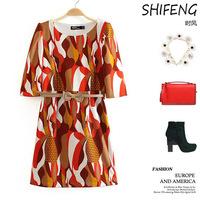 Spring s abstract bump color printing round collar small shrug women's Roman cloth dress 68-5W