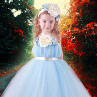 Free Shipping!Ball gown Flower Girl Dresses Blue Flower Halter Fluffy Chiffon TUTU dresses Tea Length Birthiday Party Dresses