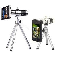 Brand New Moblie Phone Lens 12X Optical Zoom Camera Telescope Lens Toripod + Case Holder for iPhone 5 5S Silver