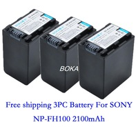 Free shipping 3 pc 7.2V 2100mAh NP-FH100 rechargeable Battery NP FH100 Camera batteries for Sony DVD310E DVD508 DVD608E DVD808E