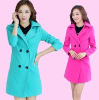 TUCW15007,2014 New coat women,Long overcoat women Turn-down Collar Oversize Casual Coat Slim Outerwear