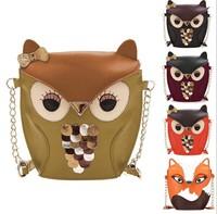 Hot Selling 2015 Cartoon Bag Owl Shoulder Bags Leisure Women Leather Handbag wallets Women Messenger Bag Casual Bag