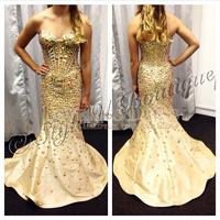 Sweetheart Sleeveless Crystal Beading Taffeta Mermaid Long Prom Dress Plus Size 2015