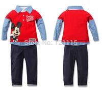 2015 new fashion Spring Autumn baby boys Sport suit set children fashion cartoon  casual coat +pants clothes kids 2 Pcs sets