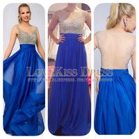 Royal Blue Chiffon Long Prom Dresses 2015 Plus Size Scoop Neck Beading A Line Floor Length Evening Dress