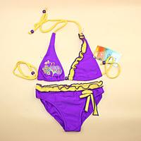Free Shipping cute summer beach baby girl kids children's split print flower bow swimsuit bikini swimwear swimming set size 5-14