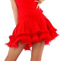 sexy leopard red Latin dance short skirt long design double drawstring classic Latin dance skirt Latin dance skirt